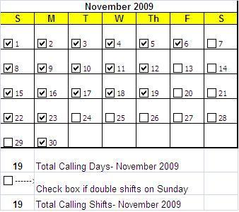 Phonathon Calling Calendar Example